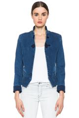 Boy by Band Of Outsiders Stand Collar Peplum Denim Jacket in Blue - Lyst