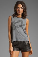 Chaser Young American Graphic Cotton Muscle Crop Top in Charcoal - Lyst