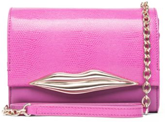 Diane Von Furstenberg Lips Mini Embossed Lizard in Pink - Lyst