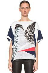 Diane Von Furstenberg New Hanky Top in Whitegrayblueabstract - Lyst