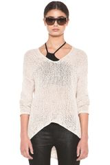 Helmut Lang Looped Cotton Asymmetrical Pullover in Neutrals - Lyst