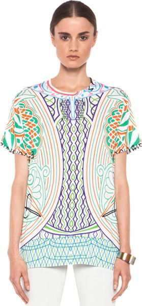 Mary Katrantzou Jersey Tee Shirt in Whitegeometric Print - Lyst