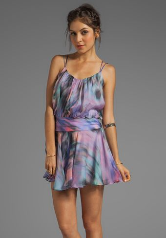 Milly Iris Print Silk Drop Waist Dress in Purple - Lyst