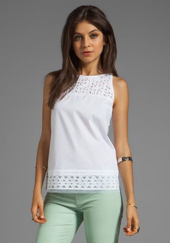 Milly Laser Cut Sienna Top in White - Lyst