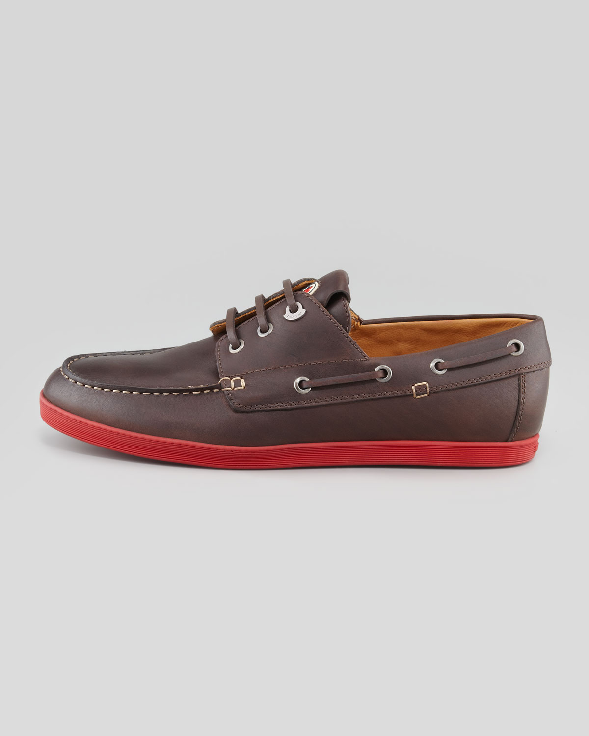 moncler guadaloupe boat shoe in brown for lyst