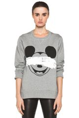 Neil Barrett Mickey Print Sweatshirt in Gray - Lyst