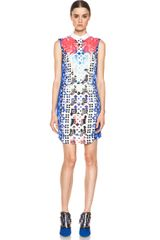 Peter Pilotto Sleeveless Embellished Dress in Blue Geometric Print - Lyst