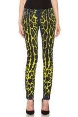Pierre Balmain 5 Pocket Super Skinny Jean in Animal Printyellowblue - Lyst
