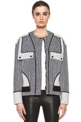 Proenza Schouler Basket Weave Collarless Jacket in Checkered Plaidblack - Lyst