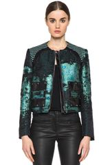 Proenza Schouler Tweed Collarless Jacket in Greenabstract - Lyst