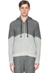 Robert Geller Color Combo Hoodie in Black gray - Lyst