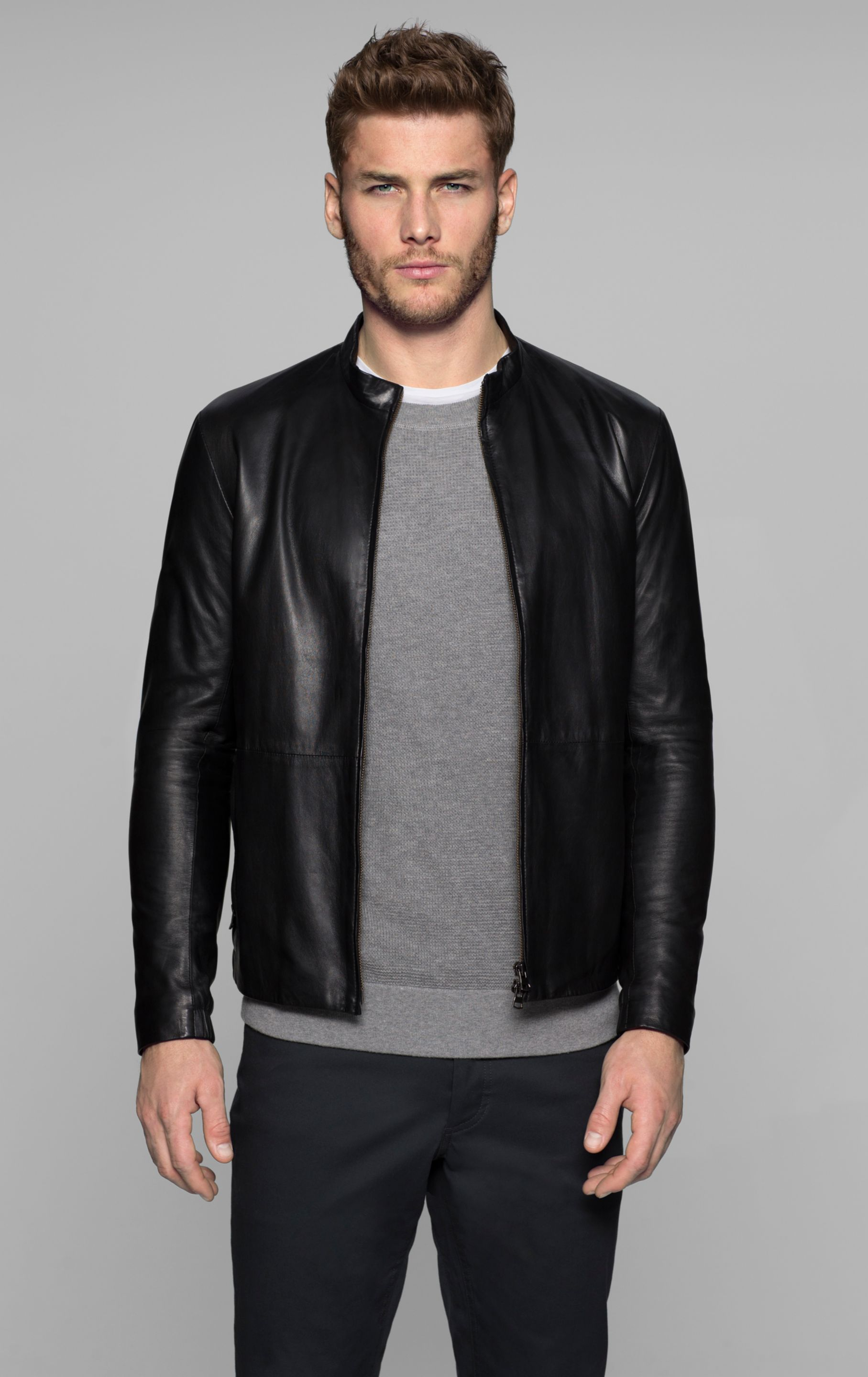 Theory Yisenia Tufts Shirt and Light Leather Jacket in Black (black