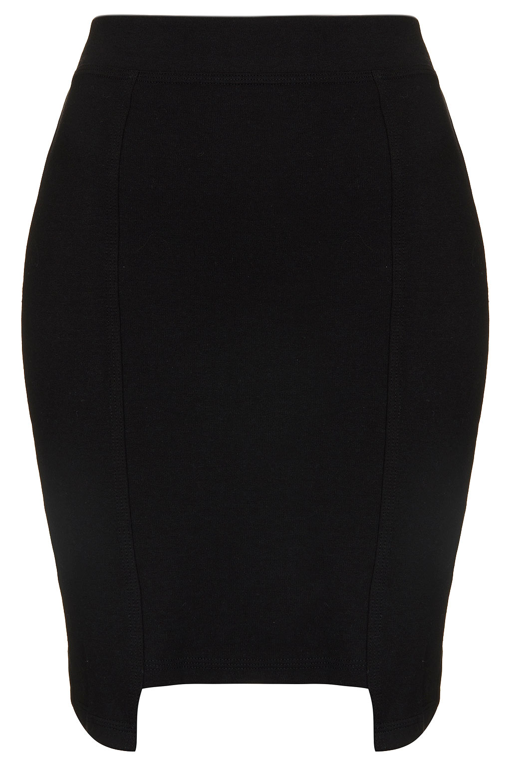 topshop stepped hem pencil skirt in black lyst