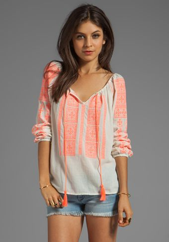 Velvet Adele Embroidered Crinkle Gauze Blouse in Coral - Lyst