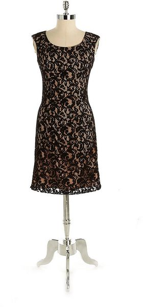Adrianna Papell Sleeveless Lace Sheath Dress - Lyst