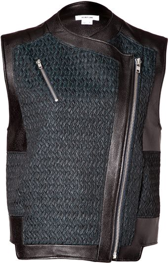 Helmut Lang Leather Paneled Biker Vest in Everestblack - Lyst
