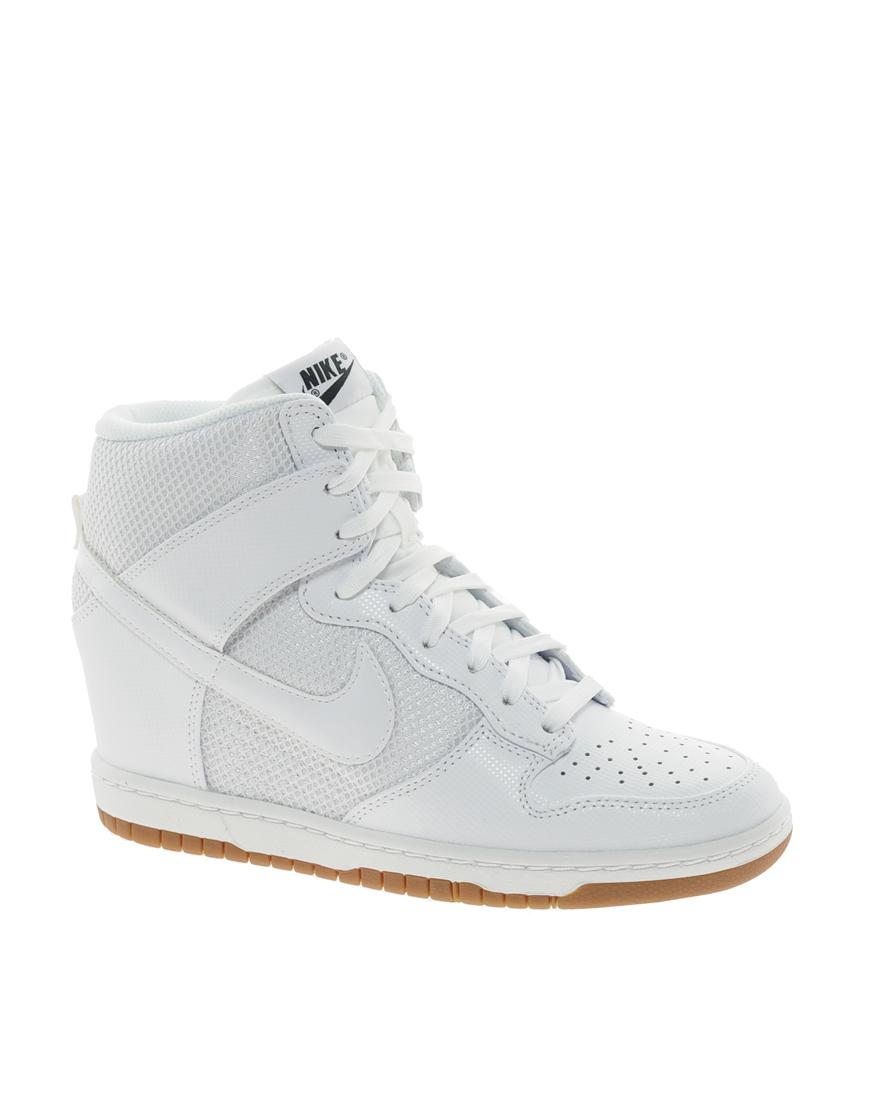 nike dunk sky high mesh white wedge trainers in white lyst