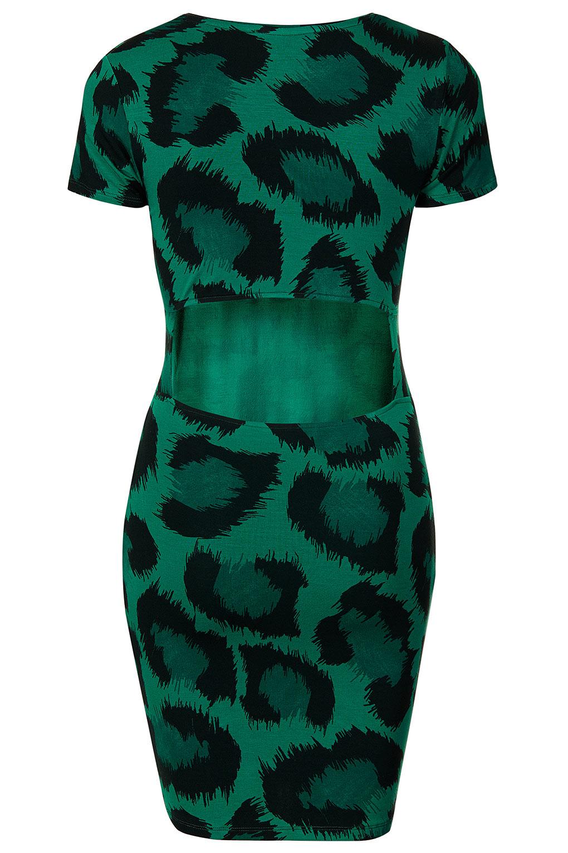 406220466056 TOPSHOP Petite Leopard Midi Dress in Green - Lyst