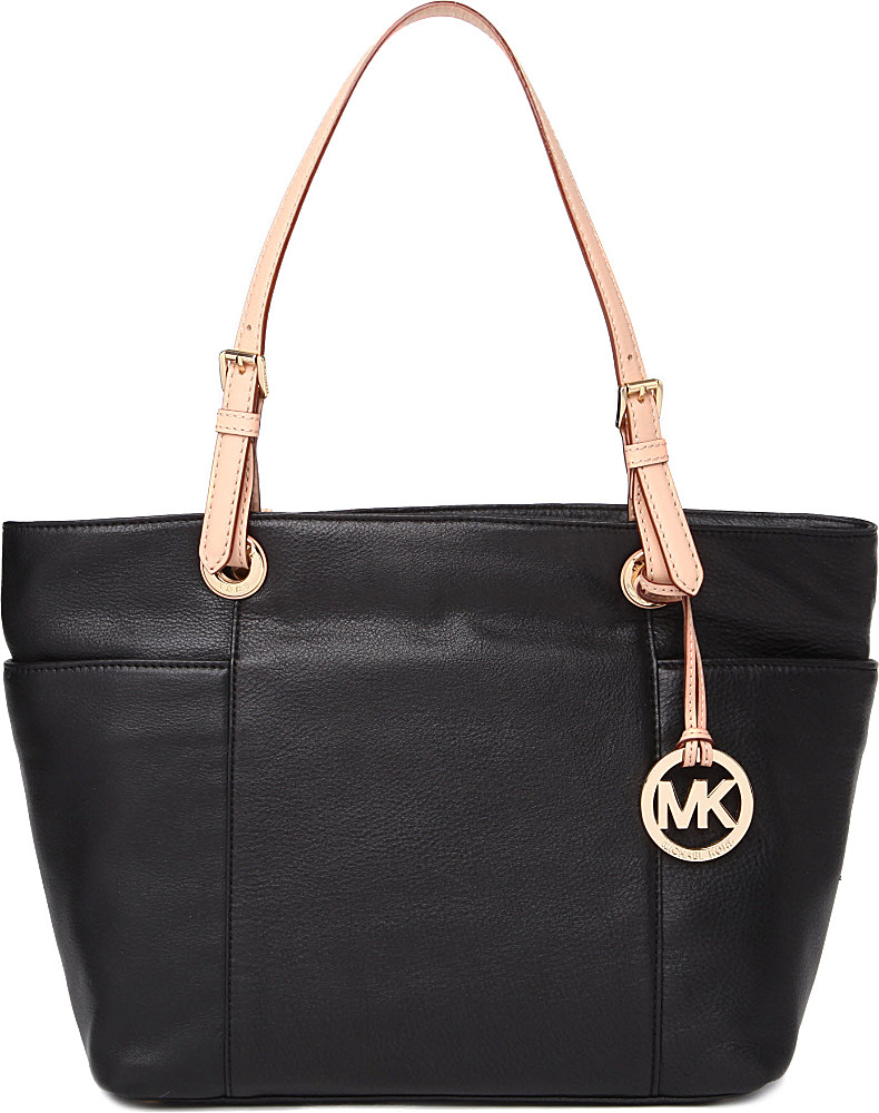 8d429ed55217bc Michael Kors Jet Set Topzip Leather Tote in Black - Lyst