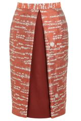 Alexander Lewis Rust Silver Birch Brocade Pencil Skirt