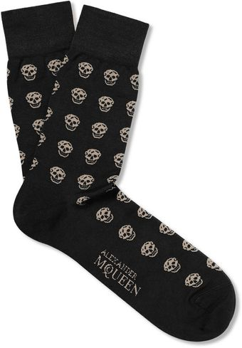 Alexander McQueen Skull Patterned Cotton Blend Socks - Lyst