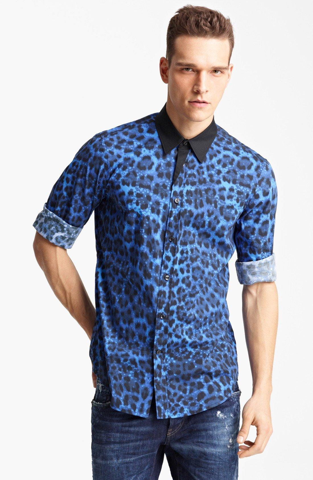 Lyst just cavalli leopard print woven shirt in blue for men for Printed shirts for mens