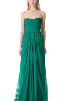 Monique Lhuillier Strapless Gown with Crisscross Bodice - Lyst