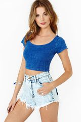Nasty Gal Summertime Blues Crop Top - Lyst