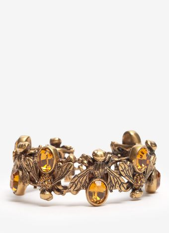 Alexander McQueen Crystal Embedded Bees Toggle Bangle - Lyst