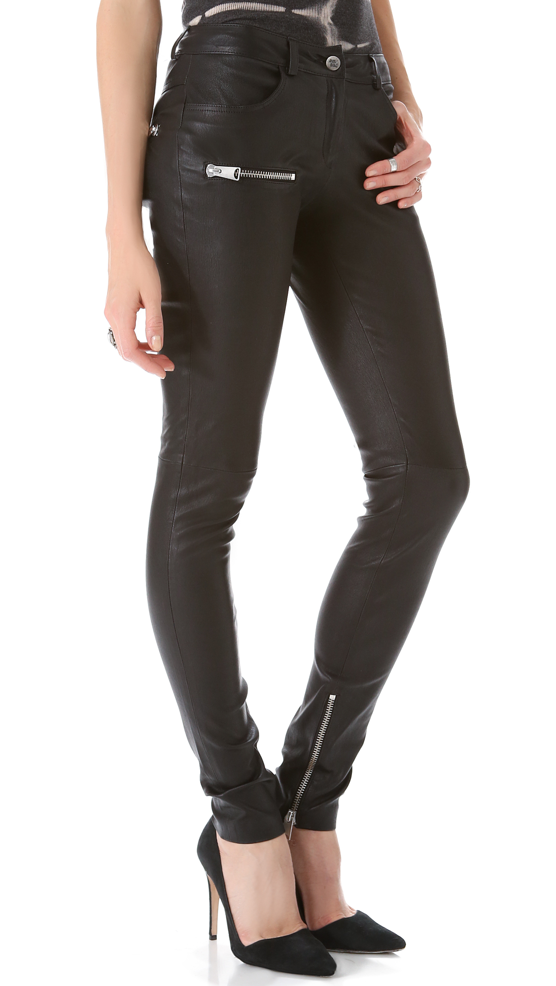 anine bing biker leather pant in black  lyst
