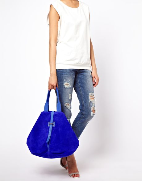 Asos Leather Folded Hobo Bag with Front Strap in Blue (cobalt)