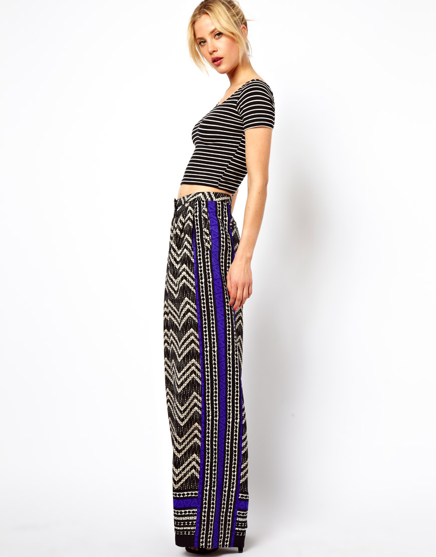 Asos Wide Leg Trousers in Blocked Print | Lyst