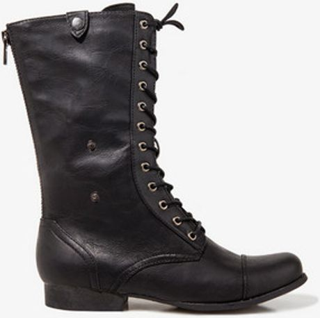 forever 21 foldover combat boots in black lyst
