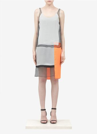 Helmut Lang Sheer panel Colourblock Dress - Lyst