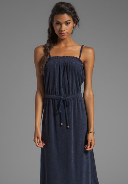 Juicy Couture Terry Maxi Dress In Navy In Blue Navy Lyst