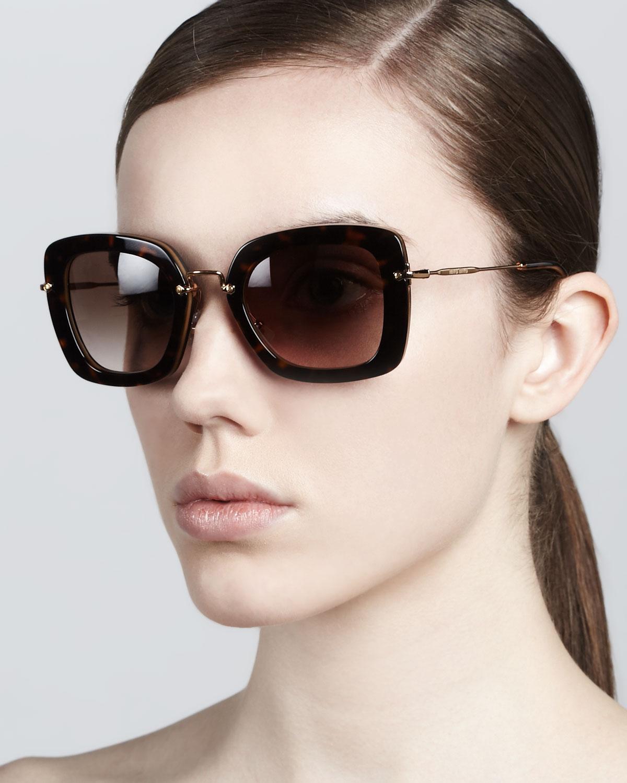 Miu Miu Hexagonal Sunglasses  miu miu glam thick rim sunglasses in black lyst