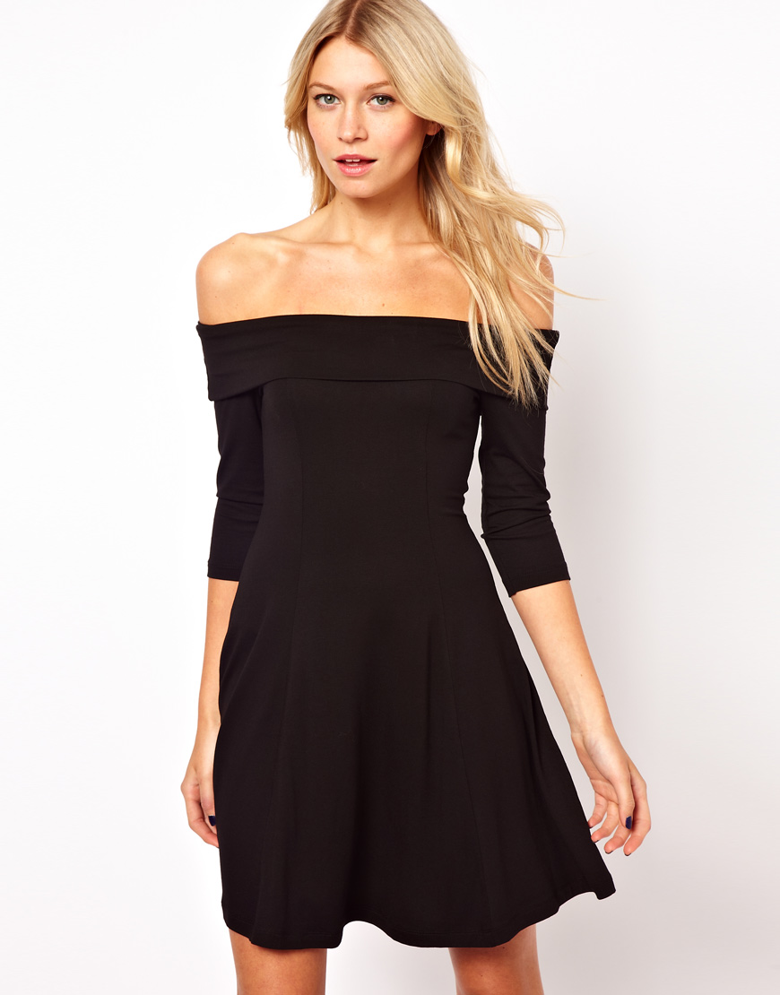 Lyst Asos Skater Dress With Off Shoulder Neckline In Black