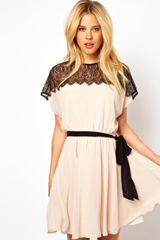 Asos Scallop Lace Panel Skater - Lyst