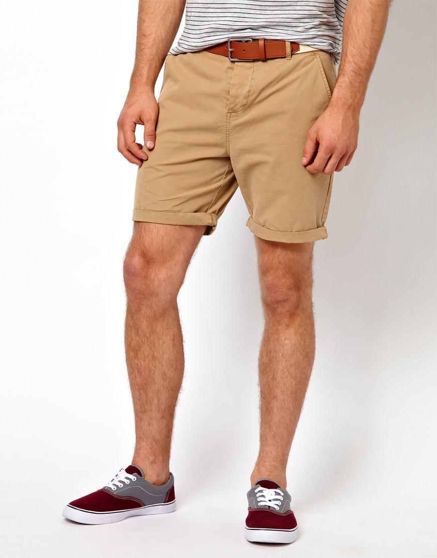 Asos Chino Shorts With Belt In Mid Length in Natural for Men | Lyst