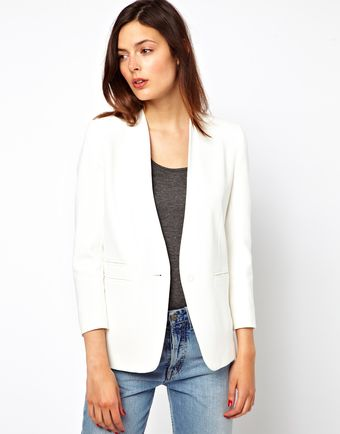 Asos Blazer with Pu Lapel - Lyst