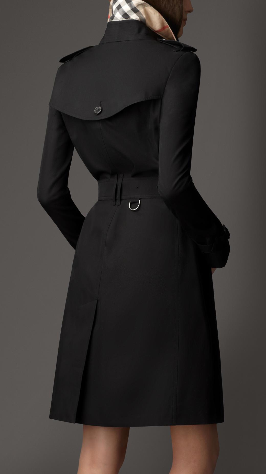 Lyst Burberry Long Cotton Gabardine Trench Coat In Black