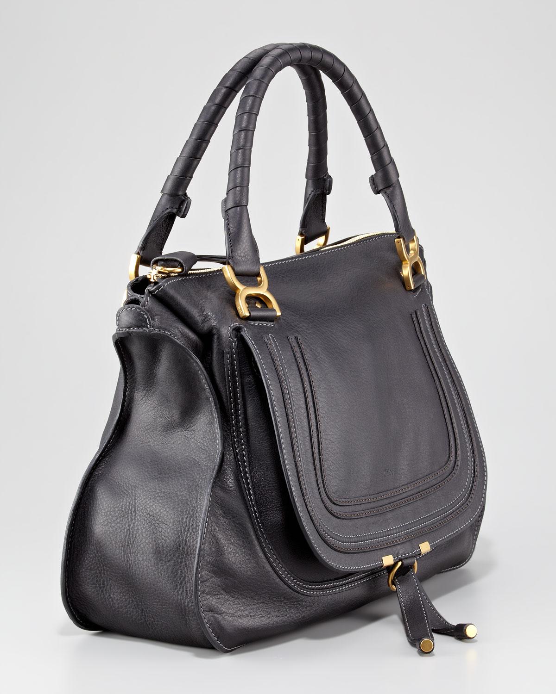 lyst chlo marcie large leather satchel bag in black. Black Bedroom Furniture Sets. Home Design Ideas