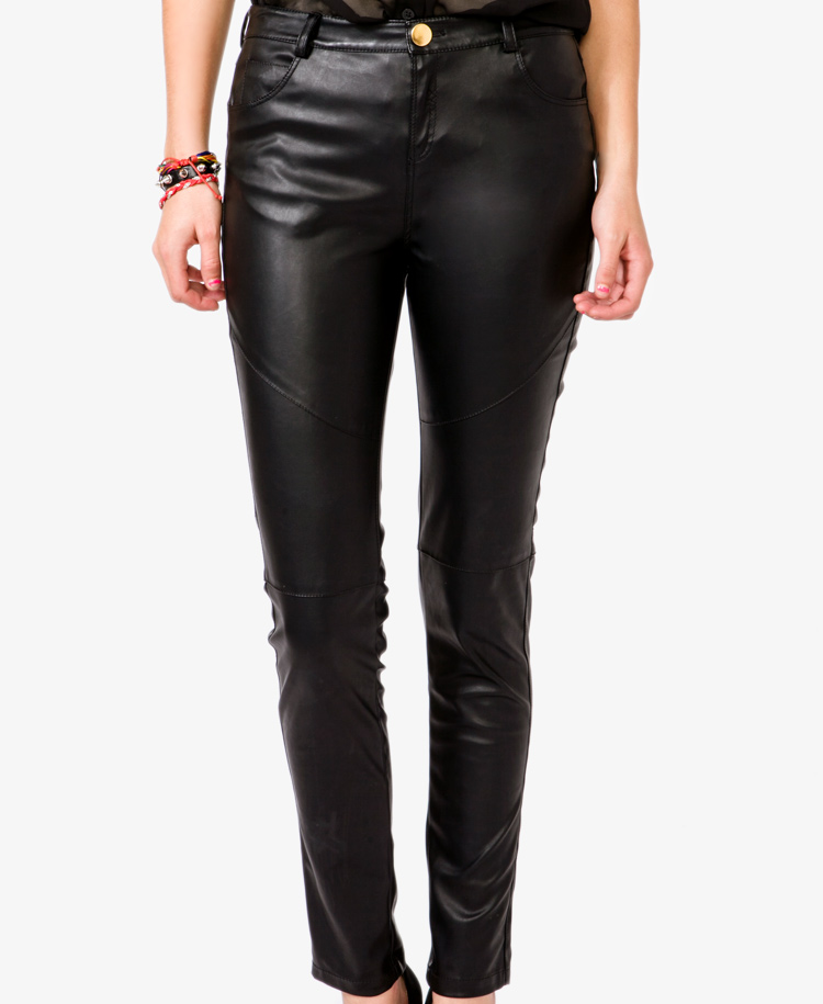 New Forever 21 Faux Leather Skinny Pants In Black  Lyst