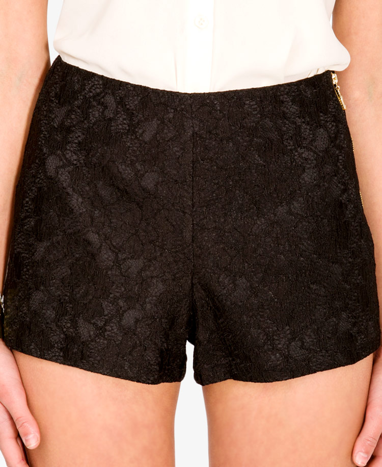 Black Lace Overlay Shorts. Order today & shop it like it's hot at Missguided. These shorts feature a black lace overlay with a nude lining, crochet trim detailing and a waist-clinching fit.