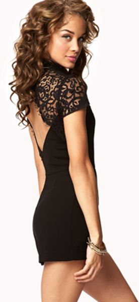 Forever 21 Lace-sleeve Romper in Black