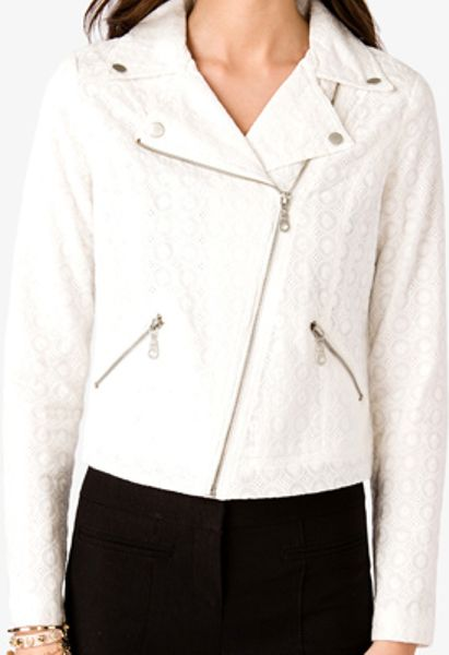 Forever 21 Eyelet Embroidered Moto Jacket in White (cream)