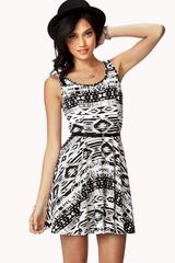 Forever 21 Tribal Print Skater Dress W Belt - Lyst