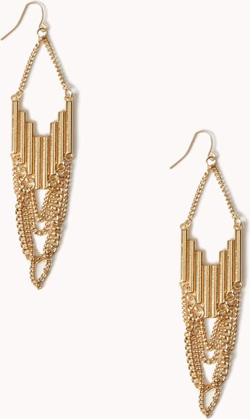 Forever 21 chained chevron earrings in gold lyst for Forever 21 jewelry earrings