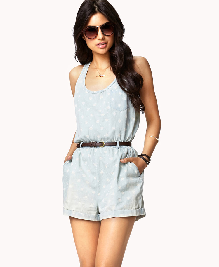 4db7cdb2520 Forever 21 Floral Chambray Romper W Belt In Blue (LIGHT DENIM MULTI)
