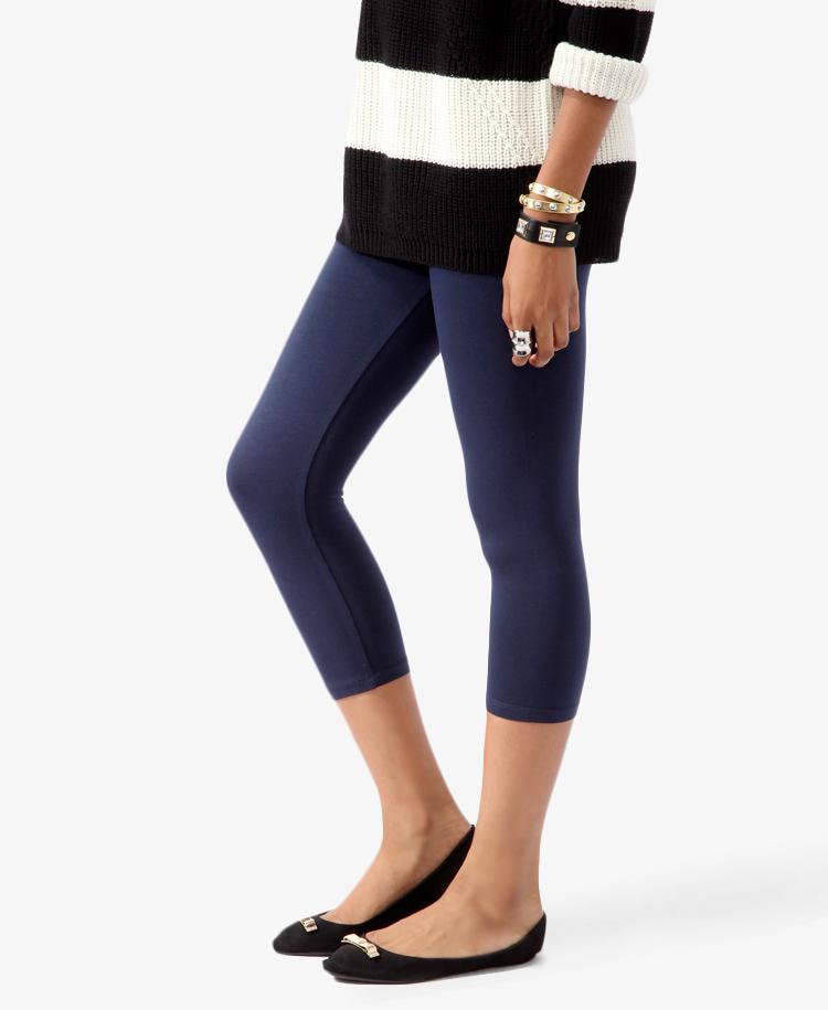Forever 21 Essential Capri Leggings in Blue | Lyst